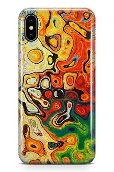 Lopard Apple İphone X Kılıf Modern Turuncu Kapak Renkli